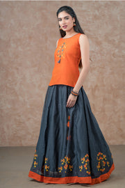 Abstract Bird Embroidered Top & Placement Printed skirt set - Orange & Grey