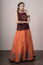 Contemporary Embroidered Top & Printed Skirt Set - Orange & Maroon