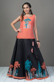 Quirky city printed  & paneled skirt set - Orange & Black