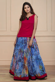 Digital Printed Skirt Sets - Pink & Blue - Maybell Womens Fashion