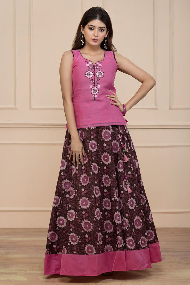 Printed Skirt Set - Pink & Brown - Maybell Womens Fashion