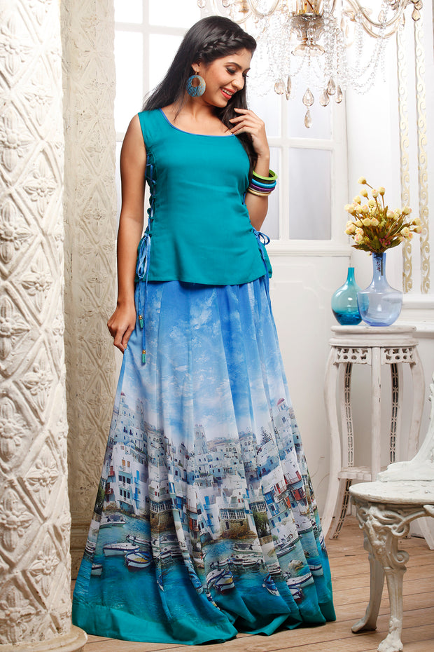 Digital Printed Skirt With Solid Top-Blue