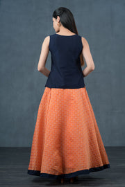 Minimal Embroidered Top & Jacquard Pattern skirt set - Navy & Peach