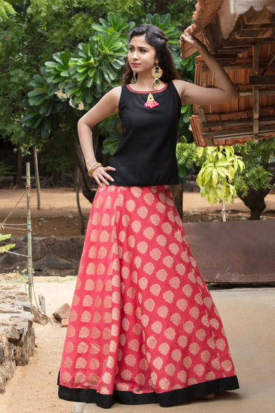 Black And Peach Circular Skirts - Maybell Womens Fashion