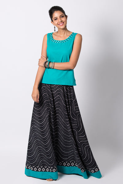 Solid Coloured Top With All Over Printed Skirt Set-Blue