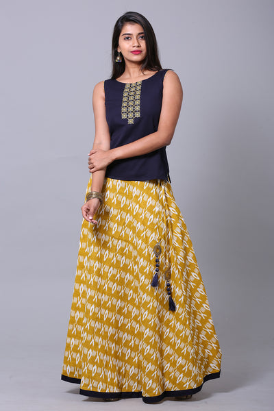 Mustard Geometrical Printed Skirtset - Maybell Womens Fashion