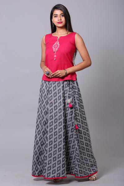 Pink & Grey Printed Skirtset - Maybell Womens Fashion