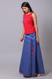 Red And Ink Blue Yoke Styled Skirt Set - Maybell Womens Fashion
