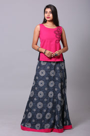 Circular Skirtset -Pink & Grey - Maybell Womens Fashion