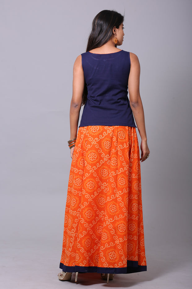 Paneled Skirt Set - Orange And Navy - Maybell Womens Fashion