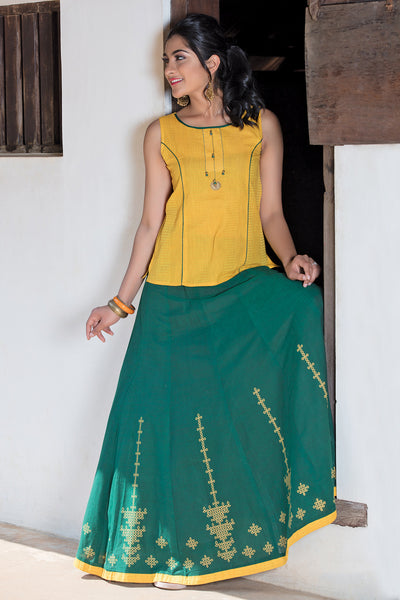 Contemporary Kolam Printed Skirt & Top Set - Yellow & Green