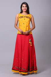 Red & Mustard Print Paneled Skirtset - Maybell Womens Fashion