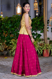 Gleaming Ethnic Embroidered Top & Dobby Pattern skirt set - Gold & Magenta