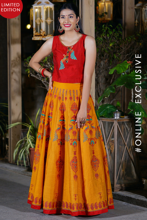Peacock Embroidered Crop Top & Printed Flared Skirt Set - Red & Mustard