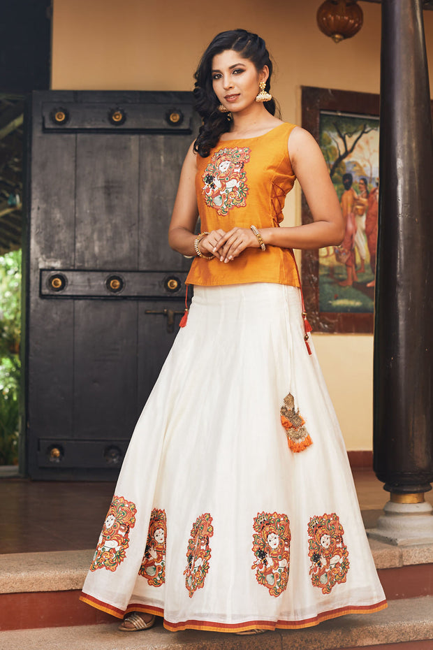 Kerala Krishna Mural Printed Skirt & Top Set - Mustard & Off White