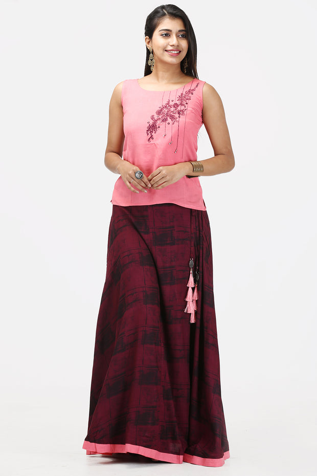 Skirt Set - Pink & Maroon - Maybell Womens Fashion