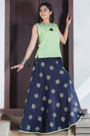 Abstract Geometric Pattern Skirt & Solid Top Set - Green & Navy