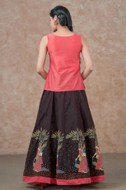 Minimal Embroidered Top & Mughal Lady Printed skirt set - Peach & Brown