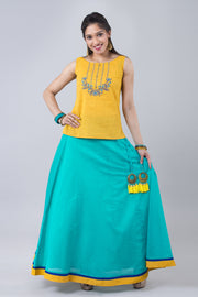 Minimal Floral Embroidered Top & Solid Skirt Set - Yellow & Blue - Maybell Womens Fashion