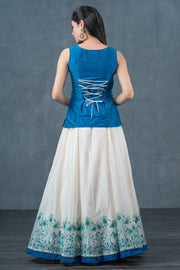 Peacock Feather Printed Top & Skirt Set - Blue & White