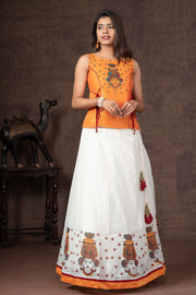 Studded Mural Krishna Top & Placement Printed Skirt Set