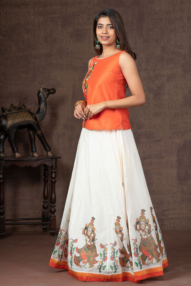 Floral Embroidered Top & Krishna Mural Printed Skirt Set
