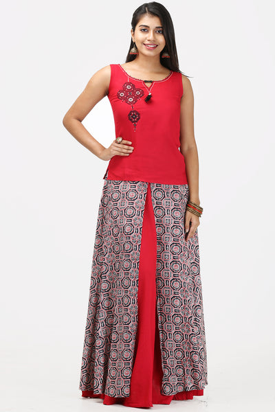 Red Skirt-Top Set Embroidery - Maybell Womens Fashion