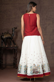 Krishna & Radha Applique Embroidered Top & Printed Skirt Set