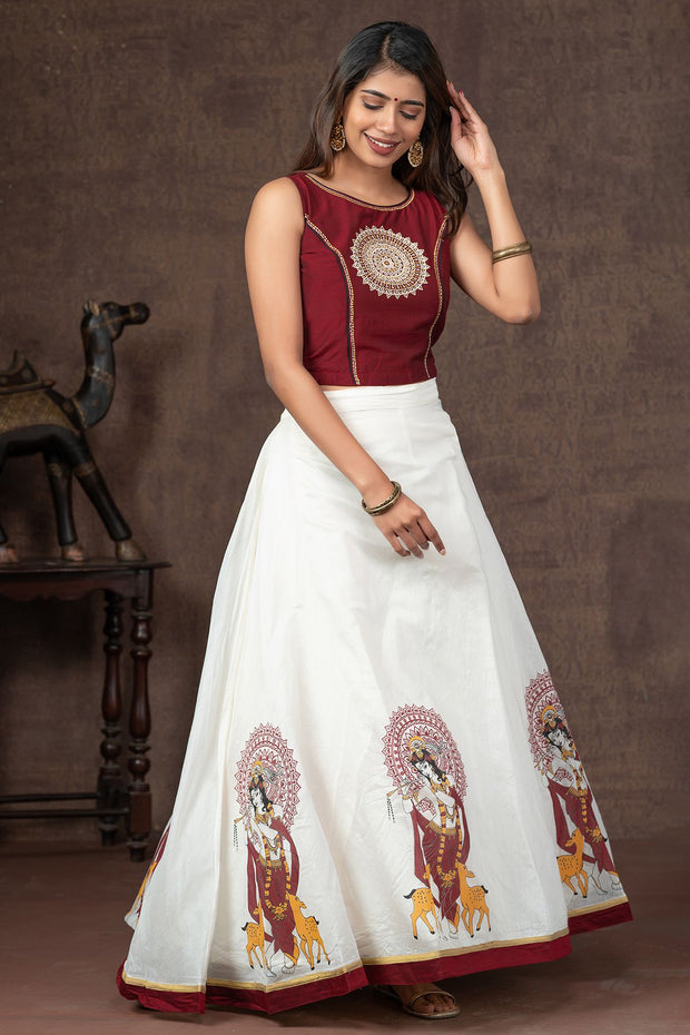 Chakra Embroidered Crop Top & Chakra Krishna Printed Skirt Set