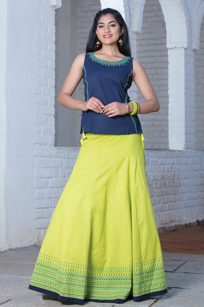 Placement Printed Skirt & Solid Top Set - Navy & Lime Green