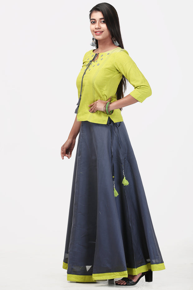 Chanderi Skirt Set - Lime Green & Grey - Maybell Womens Fashion