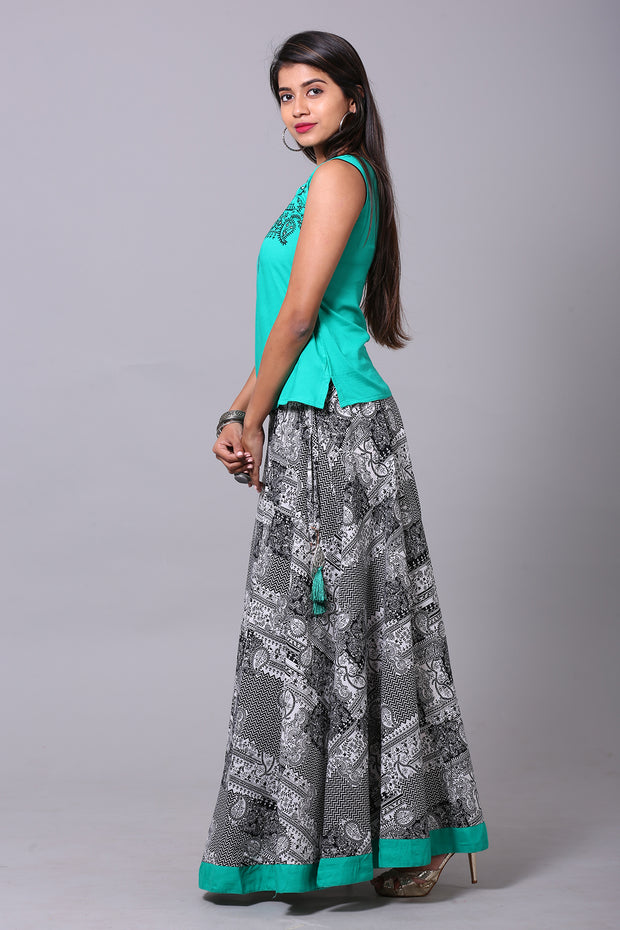 Paisley Motif Embroidery On Turquoise Skirt Set - Maybell Womens Fashion