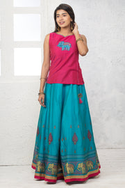 Elephant Embroidered Top & Printed Skirt Set - Pink & Blue - Maybell Womens Fashion