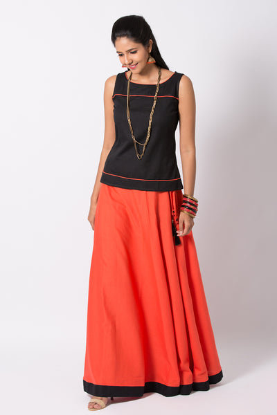 Solid Coloured Top & Bottom Skirt Set-Black & Orange