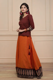 Skirt Set - Maroon & Orange - Maybell Womens Fashion