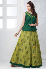 Floral Embroidered Top & All Over Printed Skirt - Maybell Womens Fashion