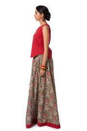 Skirt Set Red & Green - Maybell Womens Fashion
