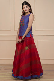Embroidery Chanderi Skirtset - Purple & Red - Maybell Womens Fashion