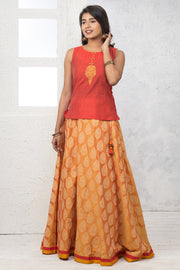 Placement Embroidered Top & Brocade Skirt  Set - Red & Yellow - Maybell Womens Fashion
