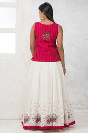 Skirt Set - Pink & White - Maybell Womens Fashion