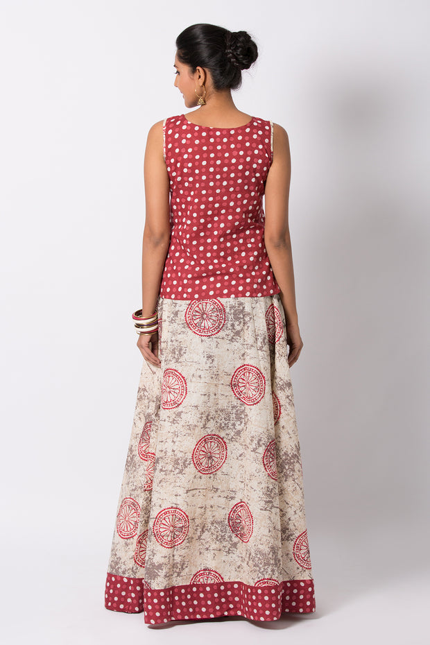 Dabu Printed Skirt Sets - Maroon & Offwhite - Maybell Womens Fashion