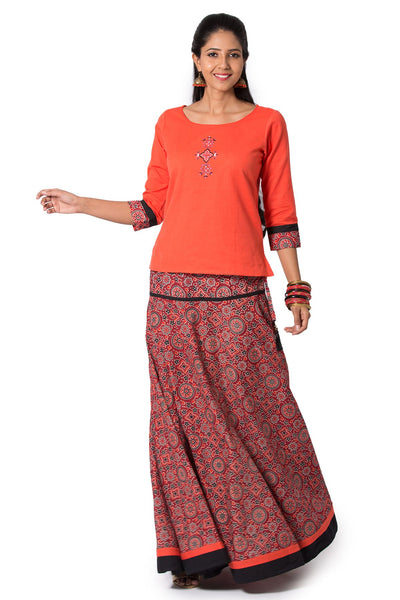 Solid Top & Printed Skirt Set - Orange