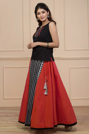 Peach And Black Cotton Panelled Skirt With Embroidery Top - Maybell Womens Fashion