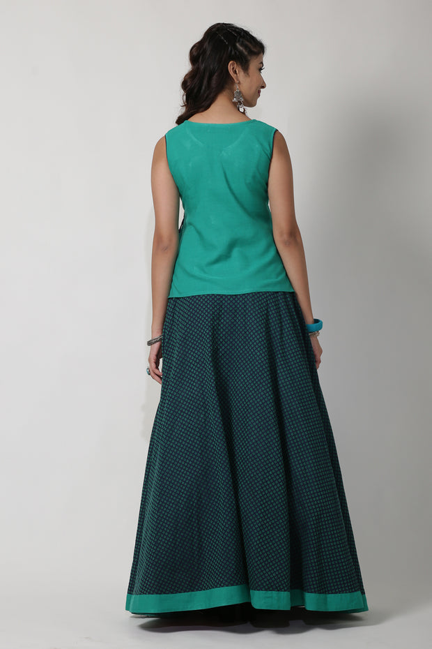 Dobby Circular Skirt With Plain Border - Green & Black - Maybell Womens Fashion