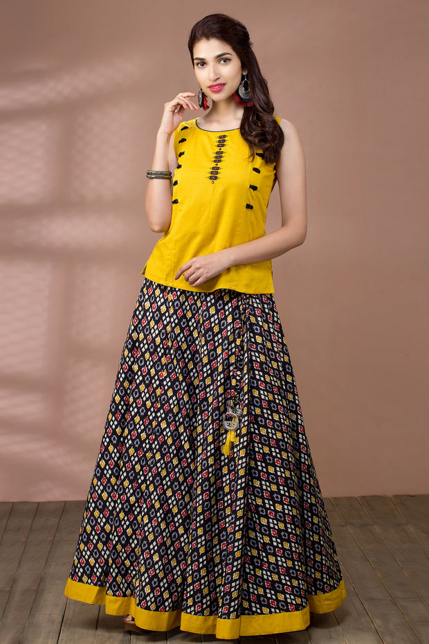 Embroidered Top & Ikkat Printed Skirt Set - Maybell Womens Fashion