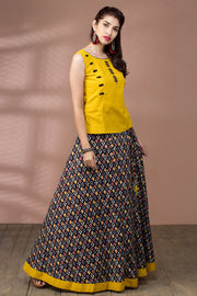 Minimal Detail Top & Ikkat Printed Skirt Set - Yellow & Black - Maybell Womens Fashion