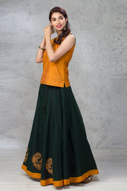 Peacock Embroidered Skirt & Top Set - Mustard & Green