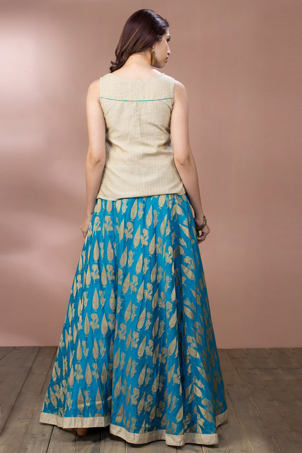 Placement Embroidered Top & Brocade Skirt  - Beige & Blue - Maybell Womens Fashion