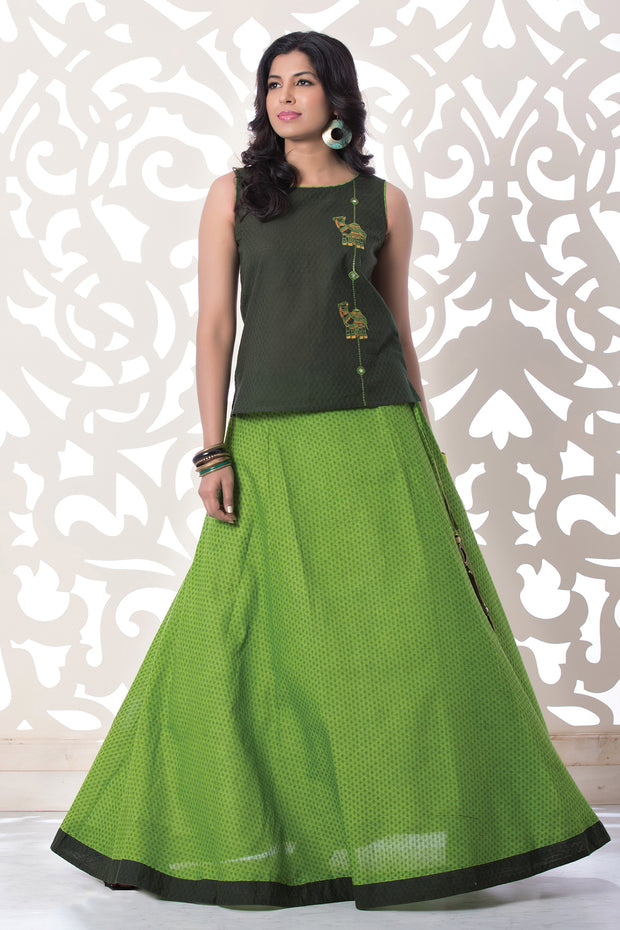 Solid Embroidered Top with Solid Coloured Skirt Set-Dark green