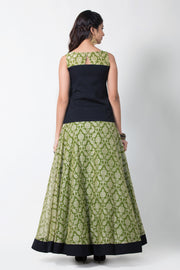 Black Embroiderd Top With Olive Green Circular Printed Skirt - Maybell Womens Fashion